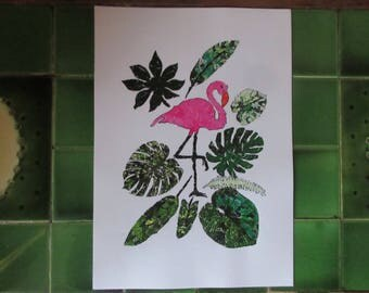 Collage Print- Flamingo Tropicana