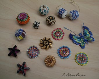 Set of beaded and other beads multicolor...