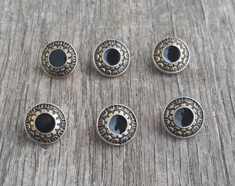 Set of 6 buttons to tail, vintage metal / / ID N51