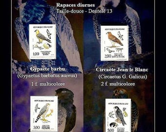 Illustration of a series of new stamps on the raptors diurnal issued in France in 1984: Vintage - Made in France - Unique model