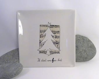 Christmas in black and white plate customizable 18 cm