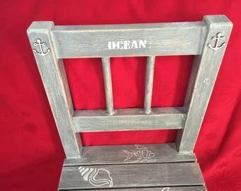 "Little Chair wooden gray patina, patterns ""seaside"""