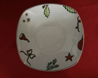 Plate customizable red and green Christmas decorations