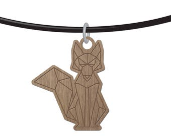 Fox - ORIGAMI - laser cut wood - necklace