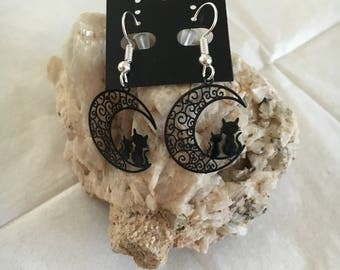 Cute cat on Moon earrings