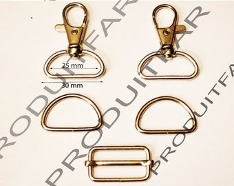 Set of 3 required straps chrome ring carabiner passing tote for 30 MM