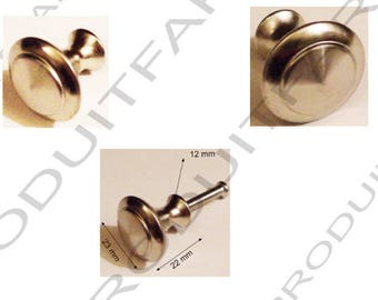 Set of 4 handles kitchen cabinet drawer door bathroom Nickel Zinc button... 23 x 22 mm