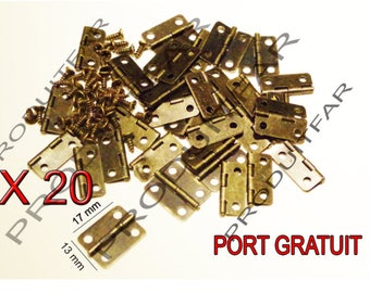 Set of 20 Mini Bronze hinges for box jewelry box chest 17 * 13 mm free matching screws