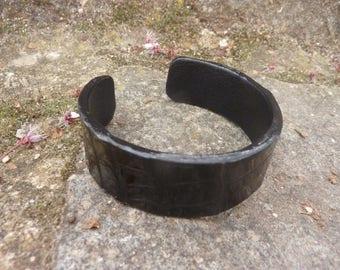 Black crocodile leather Cuff Bracelet