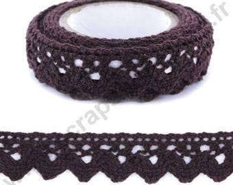 Fabric adhesive tape - Brown lace trim - 17mm x 2 m