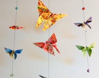 Mobile origami butterflies