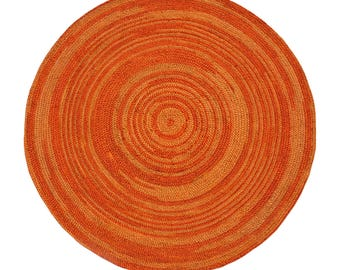 Orange Abrush Braided Jute Rug