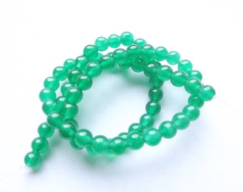 agate dyed green 6 mm TIGAN 928 64 smooth round beads