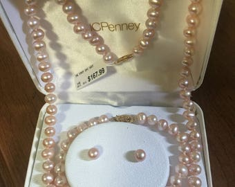 fresh water pearls pink set