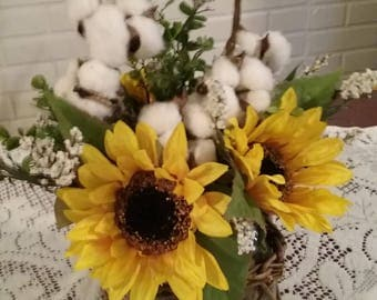 Sunflowers and Cotton Bolls