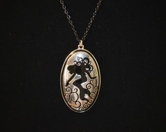 The Ariel: Silver Tone Inlaid Mermaid Necklace