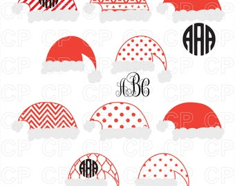 Santa Hats SVG Cut Files, Santa Hats Clipart, Santa Hats Monogram Frames Cut Files for Cricut, Silhouette Studio_Digital Download
