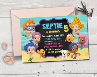 Bubble guppies invitation, bubble guppies birthday, bubble guppies party, bubble guppies printable, bubble guppies invites