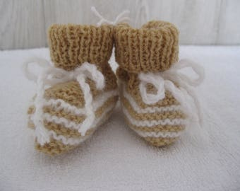 two-tone wool baby shoes