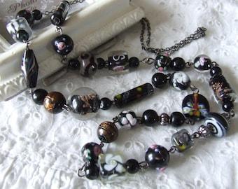 Black handmade Lampwork Glass Beads necklace