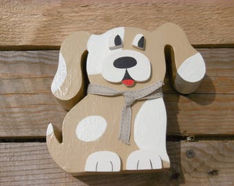 Wooden dog money box: Brown dog piggy bank