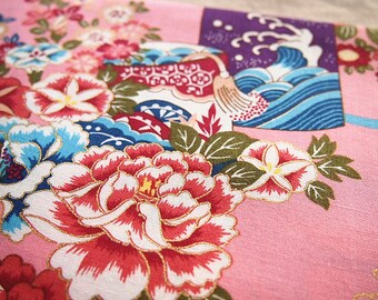 Japanese gold 110 * 50 cm pink floral cotton fabric