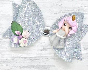 Unicorn girl Hair Bow, iridescent hair clip, girls birthday gift, clay embellished bow