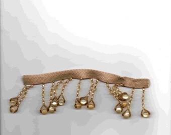 10 cm of braid with faux beige color glass pendants