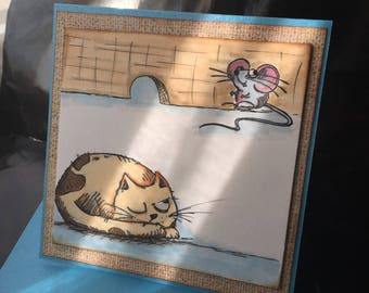 """""""the cat and mouse"""" ink and watercolor card I ready for you!"""