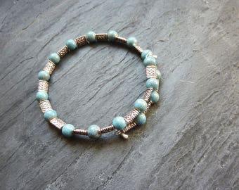 Bracelet Bohemian boho blue celadon ceramic beads