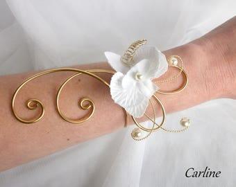 Chloe - Beads Bracelet aluminum silk flower white gold