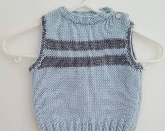 Sky blue and gray sleeveless sweater