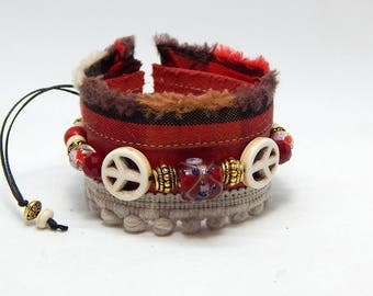 "Red leather bracelet ""Dragon"""