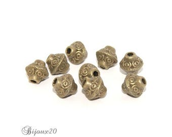 10 beads spacers bicone 6mm bronze saucer spinning wheel set M01009