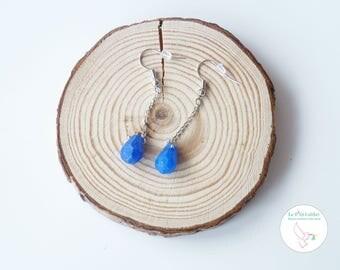 """Silver earrings """"My little blue Royal Jade"""""""