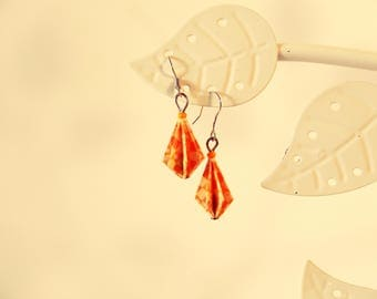 Yellow origami beads earrings