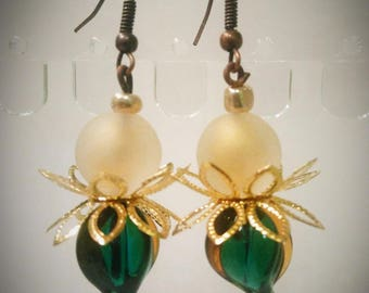Green and gold Lampwork Glass earrings