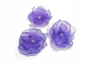 set of 3 flowers in purple organza and pearls