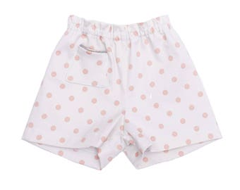 Baby girl cotton dotted shorts pink chic summer
