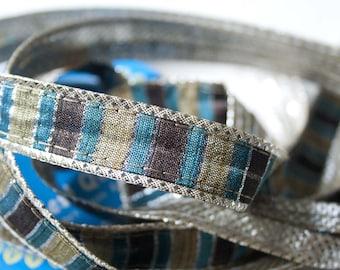 Ribbon stripes Brown Blue Beige 2 cm x 1 meter
