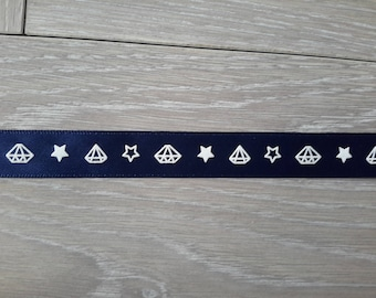 the meter patterned blue ribbon