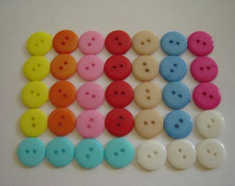 10 buttons fancy yellow 12 mm