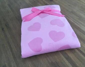 Fleece blanket double layer pink heart - 75 x 100
