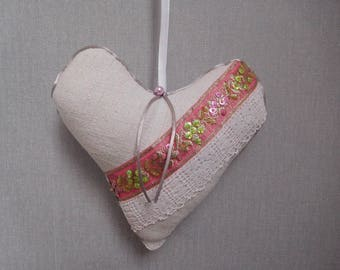 heart hanging hemp and embroidery old door cushion