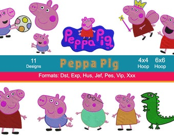 11 Peppa Pig Embroidery Designs, Peppa, George, Mummy Pig, Daddy Pig, Instant Download