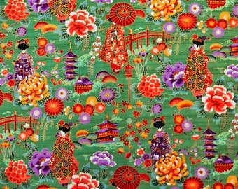 Fabric pattern Maiko, Geisha, Japanese fabric, green, the Japan fabrics, 50x50cm TU121 coupon