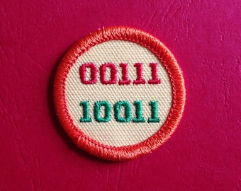 Vintage BINARY CODE Patch 60s 70s Sew On