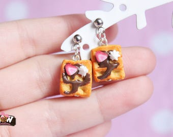 Earring studs dangle - it's time of waffles!