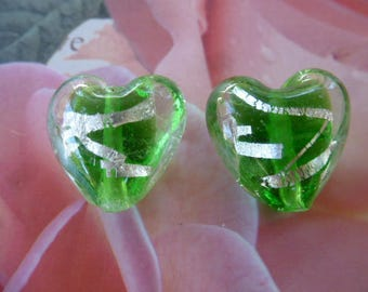 2 leaf and green murano glass hearts with silver