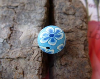 Pearl round polymer clay blue pattern flowers 14 mm